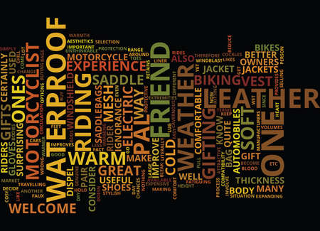 GIFTS FOR YOUR MOTORCYCLIST PAL Text Background Word Cloud Concept