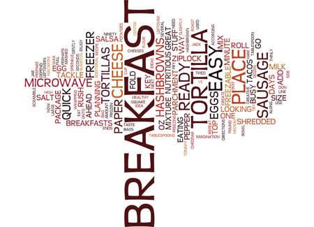 FREEZABLE BREAKFAST TACOS EASY BREAKFAST IDEA Text Background Word Cloud Concept Illustration