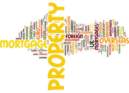 purely: FOREIGN MORTGAGES NEW HORIZONS Text Background Word Cloud Concept
