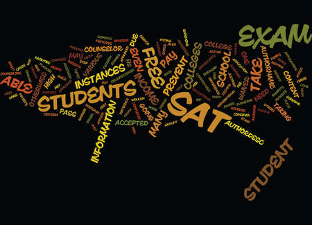 FREE SAT EXAM Fondo de texto Word Cloud Concepto Ilustración de vector