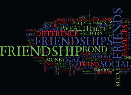 FRIENDSHIPS DOES DIFFERENCE IN WEALTH HURT OR HELP Text Background Word Cloud Concept