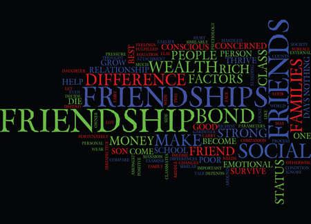 우정은 부유물이나 도움이되는 차이를 나타냅니다. 텍스트 배경 단어 구름 개념