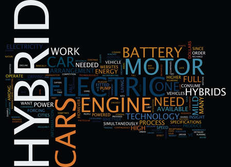 FOR HYBRID CARS Text Background Word Cloud Concept Illustration