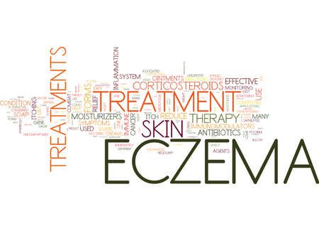 FORMS OF TREATMENT FOR ECZEMA SUFFERERS Text Background Word Cloud Concept