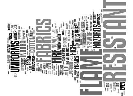 FLAME RESISTANT FABRICS Tekstachtergrond Word Cloud Concept Stock Illustratie