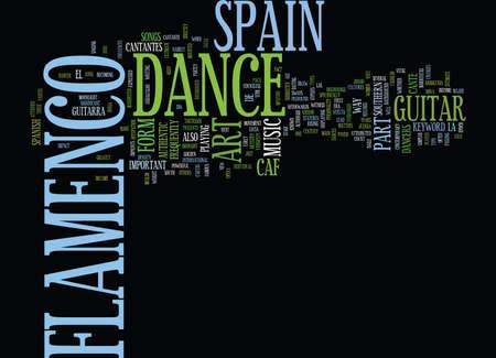 FLAMENCO DANCE IN SPAIN Text Background Word Cloud Concept Ilustração