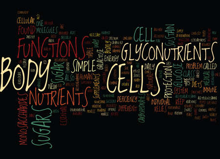 GLYCONUTRIENTS A CLASS OF THEIR OWN Text Background Word Cloud Concept