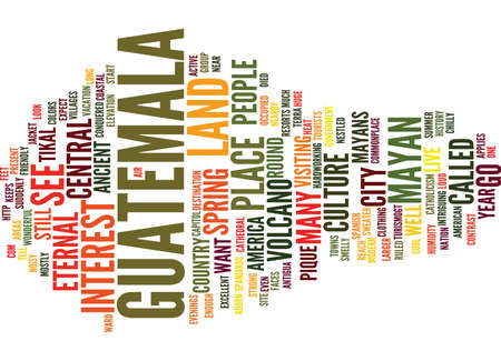 GO TO GUATEMALA Text Background Word Cloud Concept