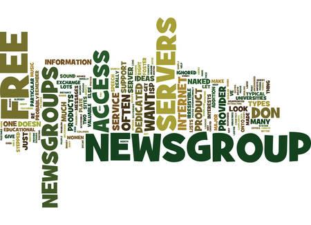 GRATIS NIEUWSGROEP SERVERS Tekstachtergrond Word Cloud Concept Stock Illustratie