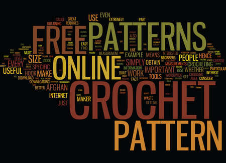 FREE ONLINE CROCHET PATTERNS Text Background Word Cloud Concept Illustration