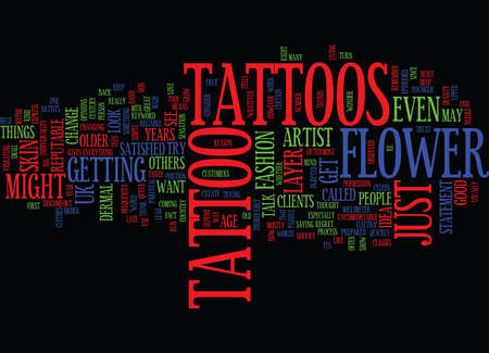 FLOWER TATTOOS WHAT DO THEY MEAN Text Background Word Cloud Concept Çizim