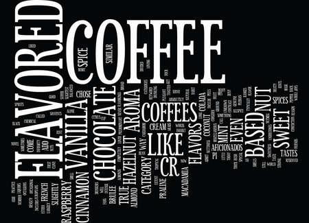 風味を付けられたコーヒー VS ブラック コーヒー テキスト背景単語雲概念