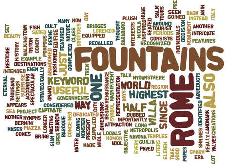 FOUNTAINS IN ROME Text Background Word Cloud Concept
