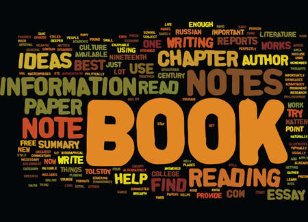 FROM BOOK NOTES TO BOOK REPORTS Text Background Word Cloud Concept