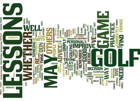 GOLF LESSONS Text Background Word Cloud Concept