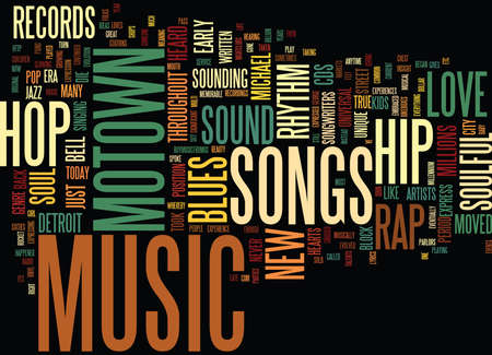 FROM MOTOWN TO HIP HOP Text Background Word Cloud Concept