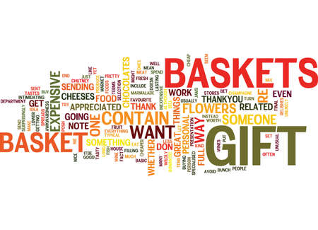 GIFT BASKETS A NIE WAY TO SAY THANKYOU Text Background Word Cloud Concept