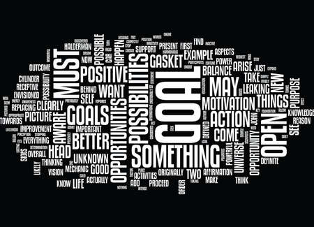 GOALS BE OPEN TO POSSIBILITY Text Background Word Cloud Concept