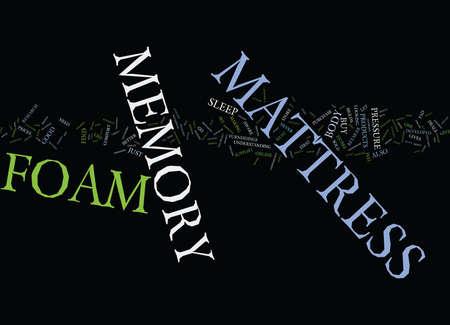 FOAM MATTRESS MEMORY Text Background Word Cloud Concept Illustration