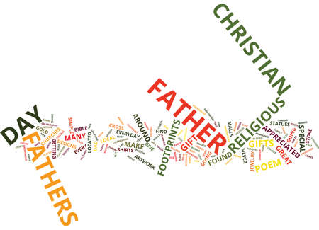 stamping: GIFTS YOU CAN GIVE TO CHRISTIAN FATHERS ON FATHER S DAY Text Background word cloud concept