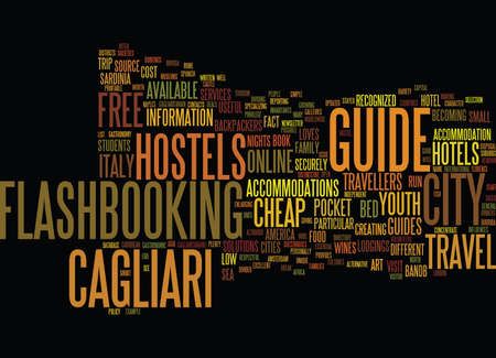 FREE TRAVEL GUIDE OF CAGLIARI IN ITALY Text Background Word Cloud Concept Ilustração