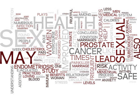 FREQUENT SEX AND GOOD HEALTH Text Background Word Cloud Concept