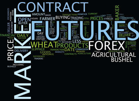 FOREX VERSUS FUTURES Text Background Word Cloud Concept Ilustração