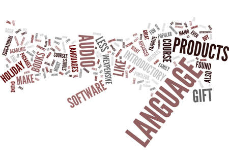 GIVE THE GIFT OF LANGUAGE FOR THE HOLIDAYS Text Background Word Cloud Concept