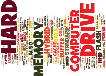 FLASH IN THE PLATTER HYBRID HARD DRIVES Text Background Word Cloud Concept