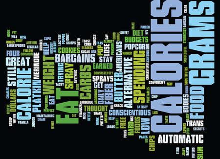 FOUR CALORIE BARGAINS THAT WILL HELP YOU STAY SLIM Text Background Word Cloud Concept Ilustração