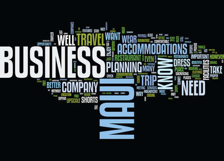 FOR THE BUSINESS TRAVELER IN MAUI Text Background Word Cloud Concept