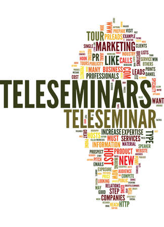 business pitch: FORGET THE PRESS TOUR HAVE A TELESEMINAR TOUR Text Background Word Cloud Concept
