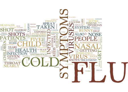 FLU AND COLD IN CHILDREN Text Background Word Cloud Concept