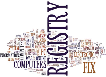 registro: FIX REGISTRY PROBLEMS ON YOUR OWN Text Background Word Cloud Concept