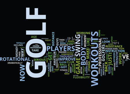 GOLF WORKOUTS CAN TRANSFORM YOUR GAME Text Background Word Cloud Concept