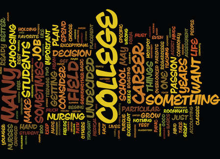 FROM UNDECIDED TO DECIDED A COLLEGE JOURNEY Text Background Word Cloud Concept