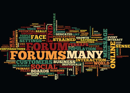 FORUMS PSYCHOLOGICAL BENEFITS Text Background Word Cloud Concept