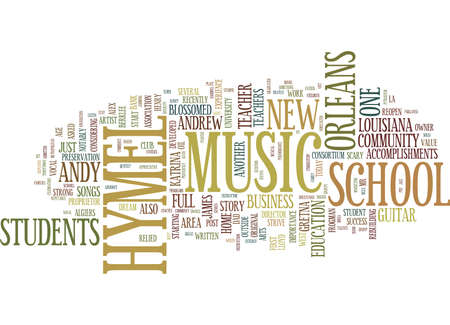 FROM WORK AT HOME GUITAR TEACHER TO FULL MUSIC SCHOOL Text Background Word Cloud Concept Ilustração