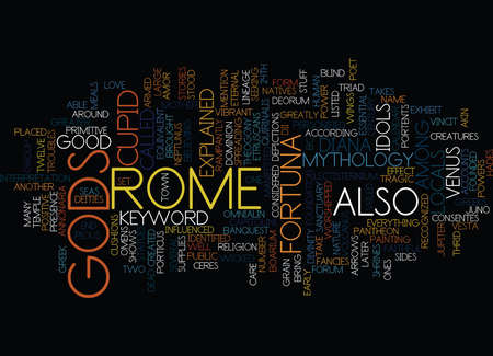 GODS OF ROME Text Background Word Cloud Concept Illustration