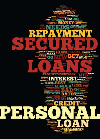 GET YOUR PERSONAL NEEDS FULFILLED WITH SECURED PERSONAL LOANS Text Background Word Cloud Concept