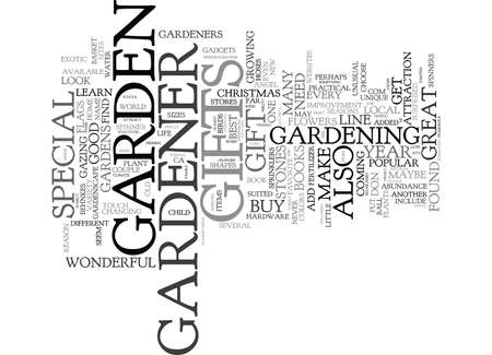 GIFTS FOR THE GARDENER Text Background Word Cloud Concept Ilustração