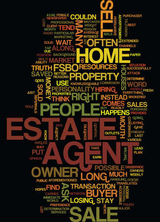 FOR SALE BY OWNER OR LOSE A SALE BY OWNER Text Background Word Cloud Concept Illustration