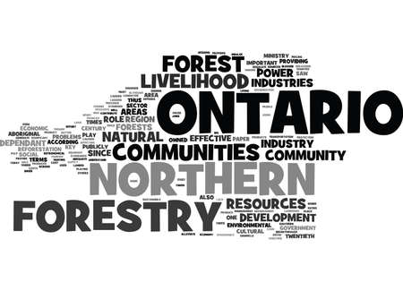 according: FORESTRY COMMUNITIES IN NORTHERN ONTARIO Text Background Word Cloud Concept