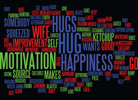 GIVE A HUG FOR HAPPINESS Text Background Word Cloud Concept