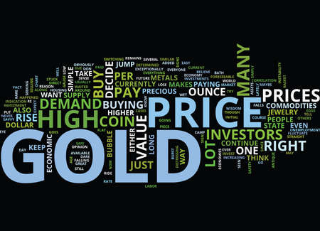 GOLD PRICE DARE TO RIDE THE BUBBLE MAYBE Text Background Word Cloud Concept