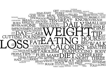 FIVE TIPS FOR EASY WEIGHT LOSS Text Background Word Cloud Concept