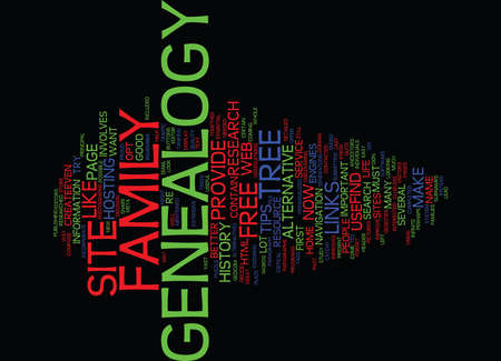 FREE GENEALOGY SITE Text Background Word Cloud Concept