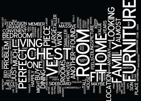 FOUND THE PERFECT HOME BUT FURNITURE WON T FIT Text Background Word Cloud Concept Illustration