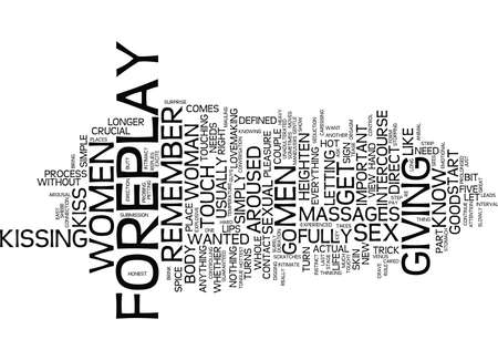 FOREPLAY TIPS Text Background Word Cloud Concept Illustration