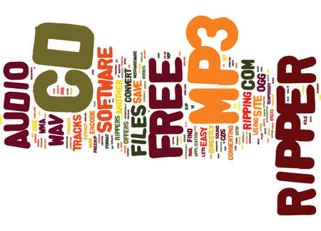 FREE CD TO MP RIPPER Text Background Word Cloud Concept Illustration